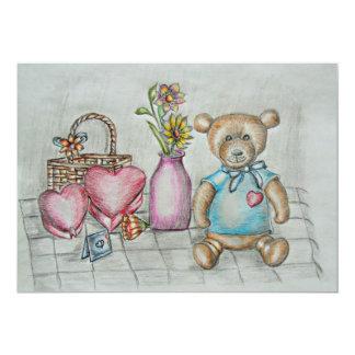 teddy bear with gifts 13 cm x 18 cm invitation card