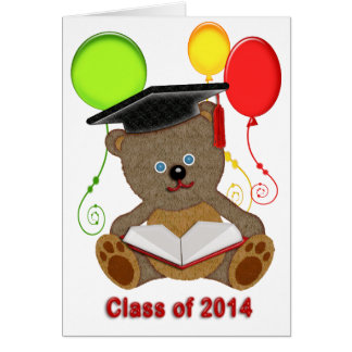 Teddy Bear with Grad Cap Balloons Class of 2014 Cards
