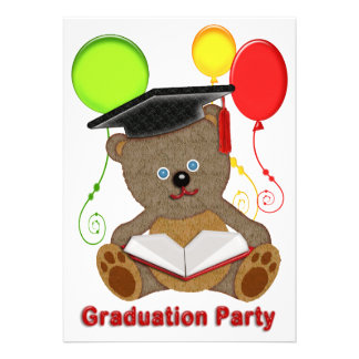 Teddy Bear with Grad Cap Balloons Graduation Invites