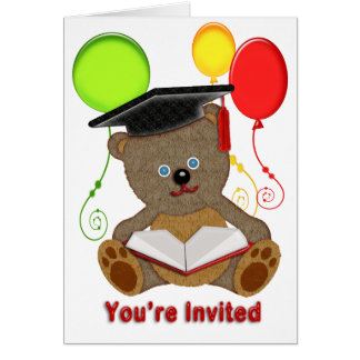 Teddy Bear with Grad Cap Balloons You re Invited Card