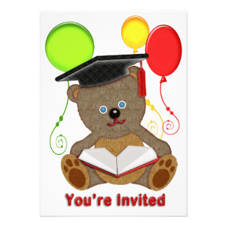 Teddy Bear with Grad Cap Balloons You re Invited Invite