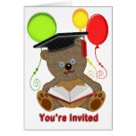 Teddy Bear with Grad Cap & Balloons You're Invited