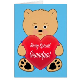 Teddy Bear with Heart Birthday Grandpa Greeting Card