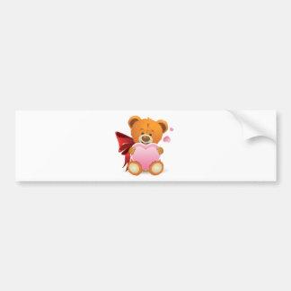Teddy Bear with Heart Bumper Sticker
