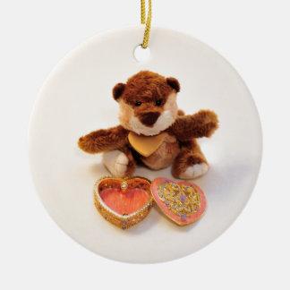 teddy bear with heart christmas ornament