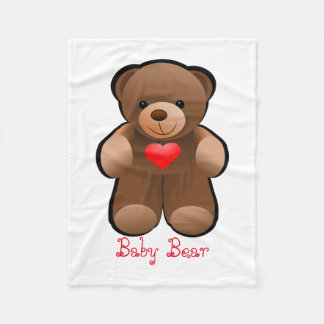 Teddy Bear With Heart Fleece Blanket