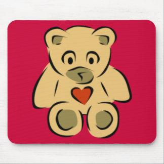 Teddy Bear With Heart Mouse Mat