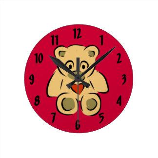 Teddy Bear With Heart Round Clock