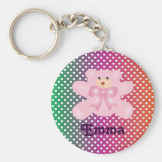Teddy Bear With Hearts Polka Dot Pattern Basic Round Button Key Ring