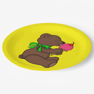 Teddy Bear with Ice Cream Cone 9 Inch Paper Plate