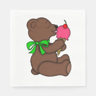 Teddy Bear with Ice Cream Cone Disposable Serviette
