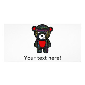 Teddy bear with inspirational text clipart personalized photo card