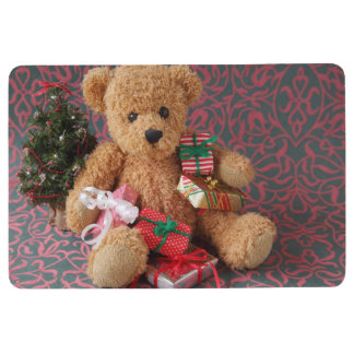 Teddy bear with many Christmas gifts Floor Mat