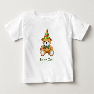 Teddy Bear with Party Hat, Original Art, Party On! Baby T-Shirt
