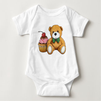 Teddy Bear with Pink Cupcake, Cherry, Original Art Baby Bodysuit