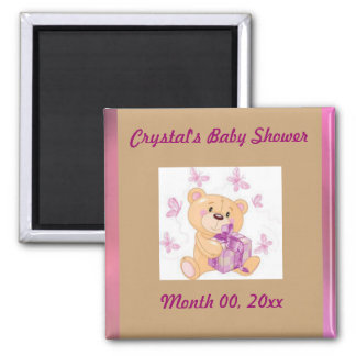 Teddy bear with present Save the Date baby shower Square Magnet