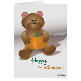 Teddy Bear with Pumpkin Card