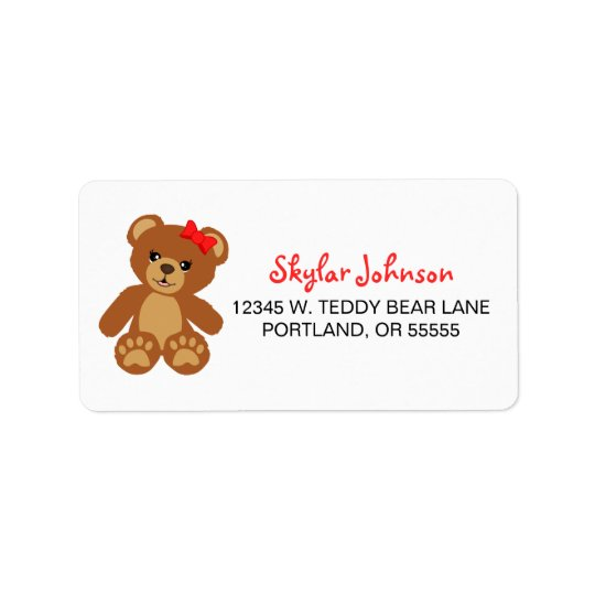Teddy Bear with Red Bow Address Label