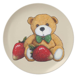 Teddy Bear With Strawberries, Original Colorful Dinner Plate