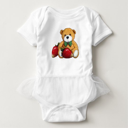 Teddy Bear With Strawberries, Original Colourful Baby Bodysuit