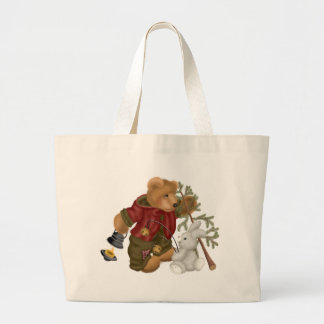 Teddy Bear Woodsman Large Tote Bag