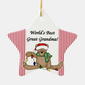 Teddy Bear World's Best Great Grandma Ornament