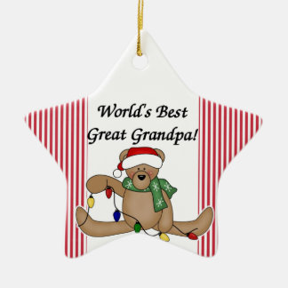 Teddy Bear World's Best Great Grandpa Ornament