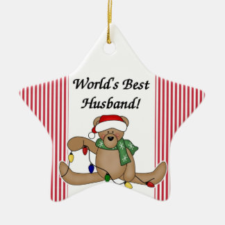 Teddy Bear World's Best Husband Ornament
