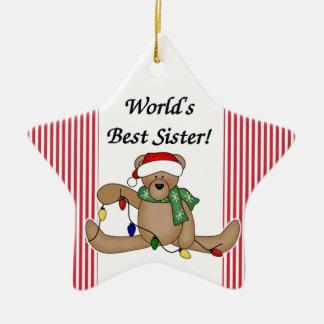 Teddy Bear World's Best Sister Ornament