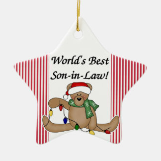 Teddy Bear World's Best Son-In-Law Ornament