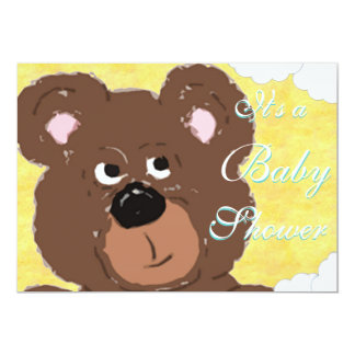 Teddy Bear  (yellow) Baby Shower 13 Cm X 18 Cm Invitation Card