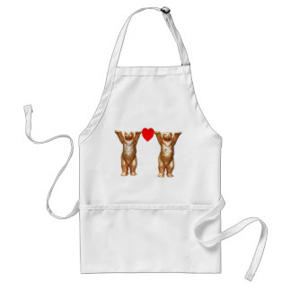 Teddy Bears and Red Heart, White Back Aprons