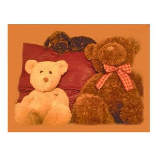 Teddy Bears and Toy Dog on Warm Caramel Post Cards