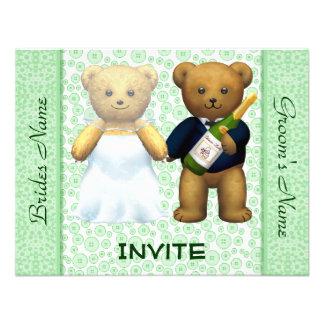 Teddy Bears Apple Green Wedding Invite Guests