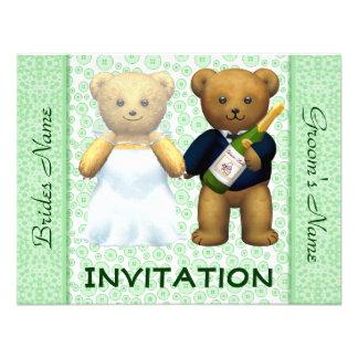 Teddy Bears Apple Green Wedding Invite - Invite