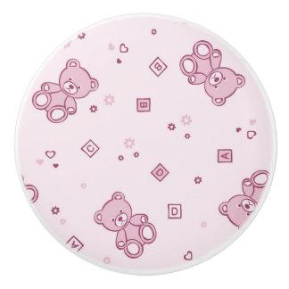 Teddy bears background Pink Ceramic Knob