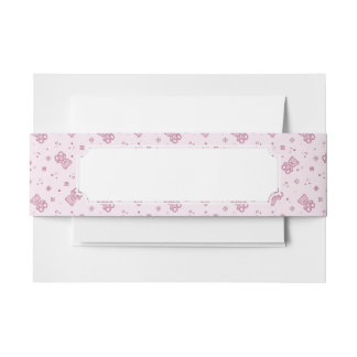 Teddy bears background Pink Invitation Belly Band