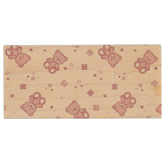 Teddy bears background Pink Wood USB 2.0 Flash Drive