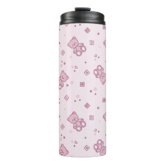 Teddy bears background Pink Thermal Tumbler