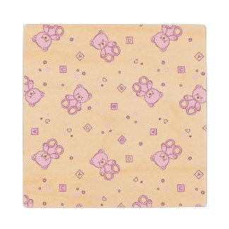 Teddy bears background Pink Wood Coaster