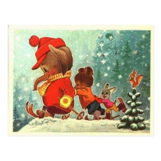 Teddy bears, bearly fun in the snow, Christmas Postcard