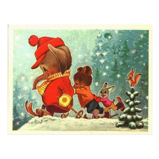 Teddy bears, bearly fun in the snow, Christmas Postcard