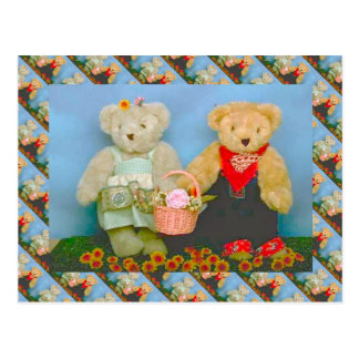 Teddy bears, bearly gardening couple postcard