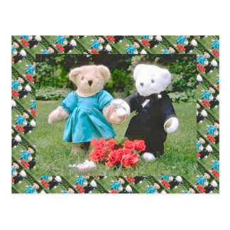 Teddy bears, bearly wedding couple in the garden postcard