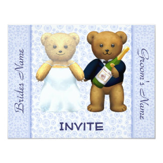 Teddy Bears Blue Wedding Invite Guests