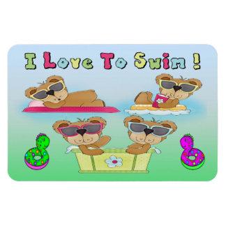 Teddy Bears I Love To Swim Flexible Magnets
