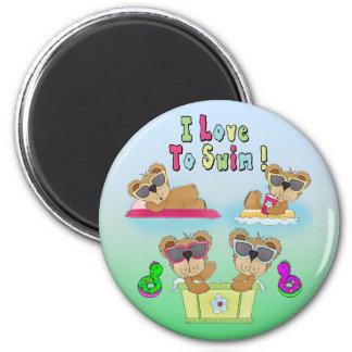 Teddy Bears I Love To Swim Round Magnet