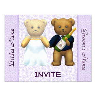 Teddy Bears lilac Wedding Invite Guests