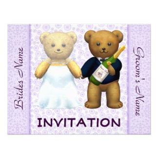 Teddy Bears lilac Wedding Invite - Invitation