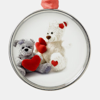 TEDDY BEARS &  LOVE HEARTS ROUND METAL CHRISTMAS ORNAMENT